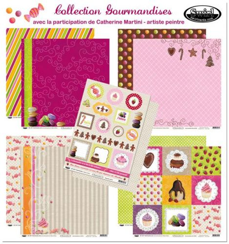 feulle de scrap gourmand, scrap catherine martini, swirlcards