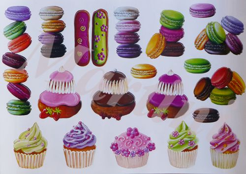 sticker gourmandises; stickers macaron, autocollant gourmand