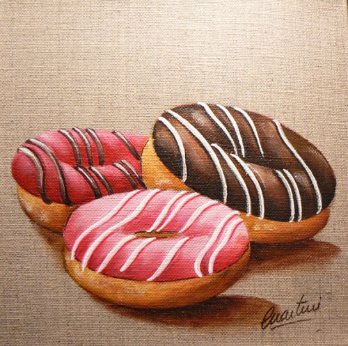 tableau donuts, peinture donuts, tableau gateau, donuts painting